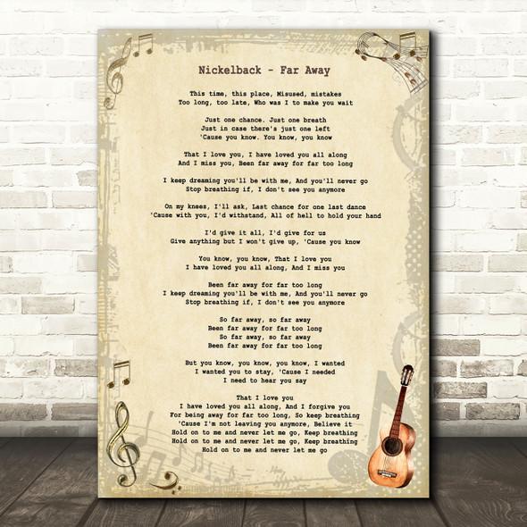 Nickelback Far Away Vintage Guitar Song Lyric Art Print