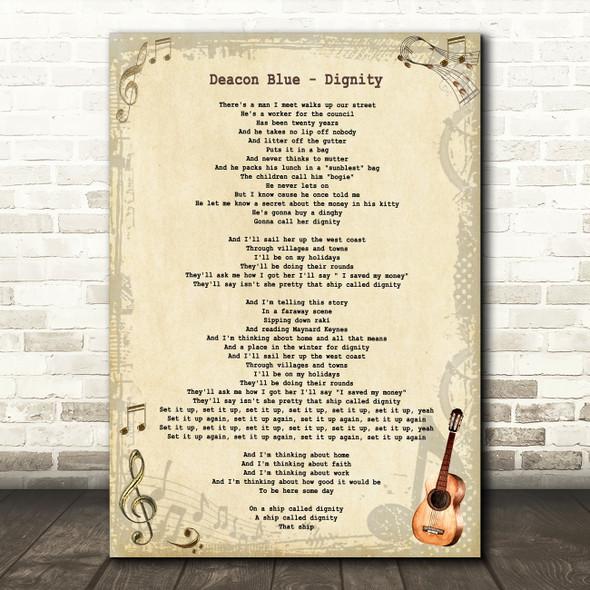 Deacon Blue Dignity Vintage Guitar Song Lyric Art Print