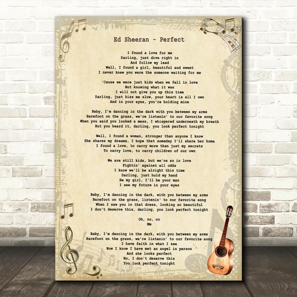 Ed Sheeran Perfect Vintage Guitar Song Lyric Art Print