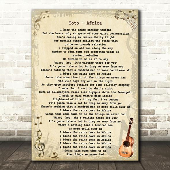 Toto Africa Vintage Guitar Song Lyric Art Print