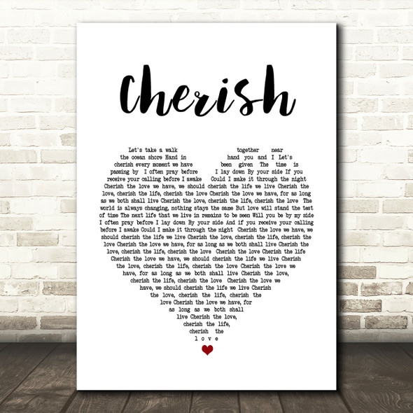 Kool & The Gang Cherish Heart Song Lyric Quote Print