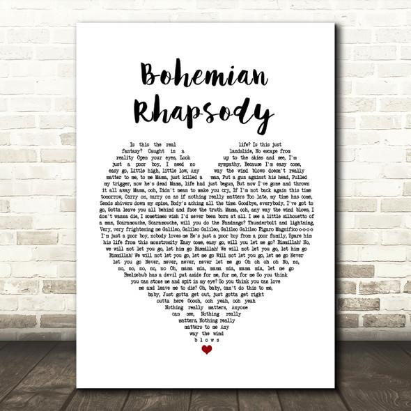 Queen Bohemian Rhapsody Heart Song Lyric Quote Print