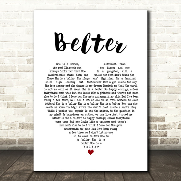 Gerry Cinnamon Belter Heart Song Lyric Quote Print