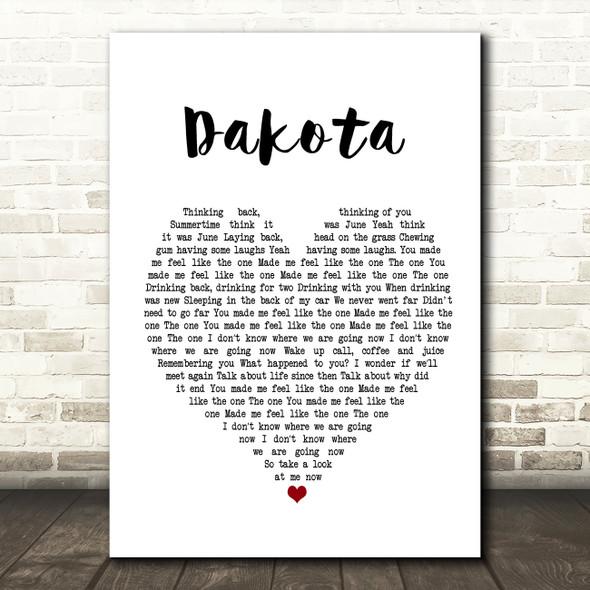 Stereophonics Dakota Heart Song Lyric Quote Print