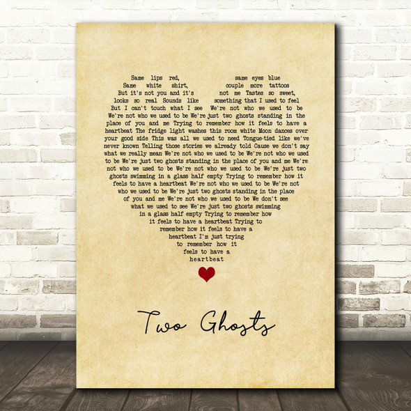 Harry Styles Two Ghosts Vintage Heart Song Lyric Art Print
