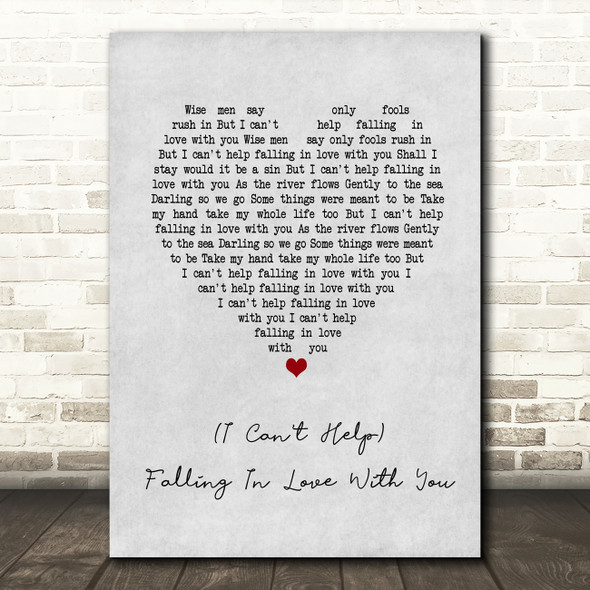 UB40 (I Can't Help) Falling In Love With You Grey Heart Song Lyric Quote Print