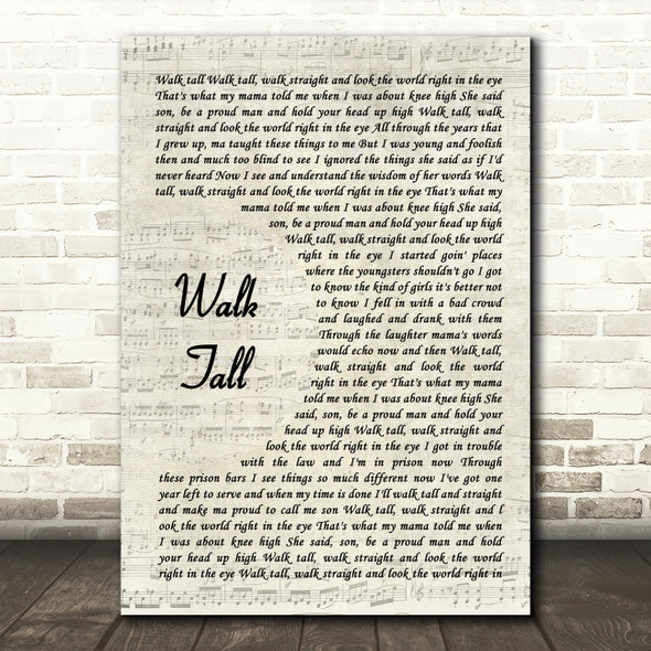 Val Doonican Walk Tall Vintage Script Song Lyric Art Print