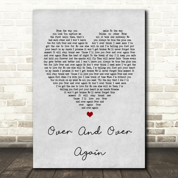 Nathan Sykes Over And Over Again Grey Heart Song Lyric Quote Print