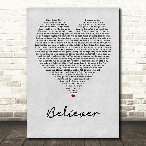 Imagine Dragons Believer Grey Heart Song Lyric Quote Print