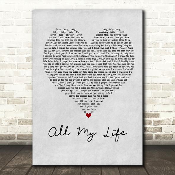 K-Ci & JoJo All My Life Grey Heart Song Lyric Quote Print