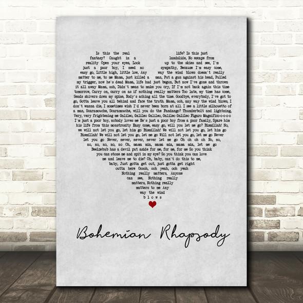 Queen Bohemian Rhapsody Grey Heart Song Lyric Quote Print