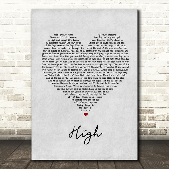 Lighthouse Family High Grey Heart Song Lyric Quote Print