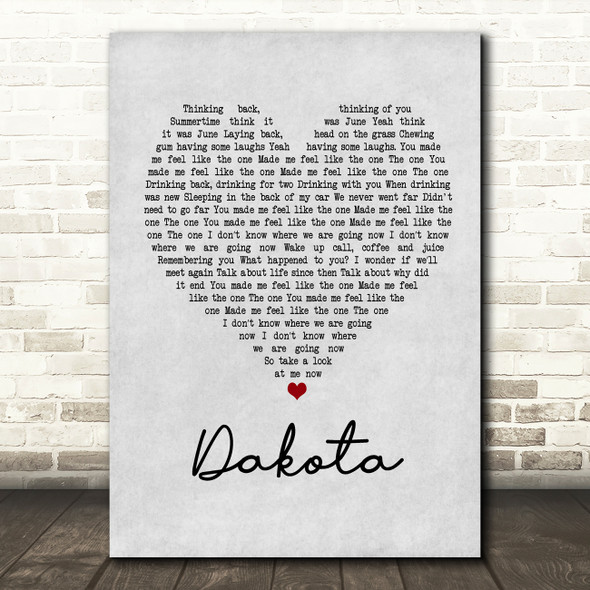 Stereophonics Dakota Grey Heart Song Lyric Quote Print