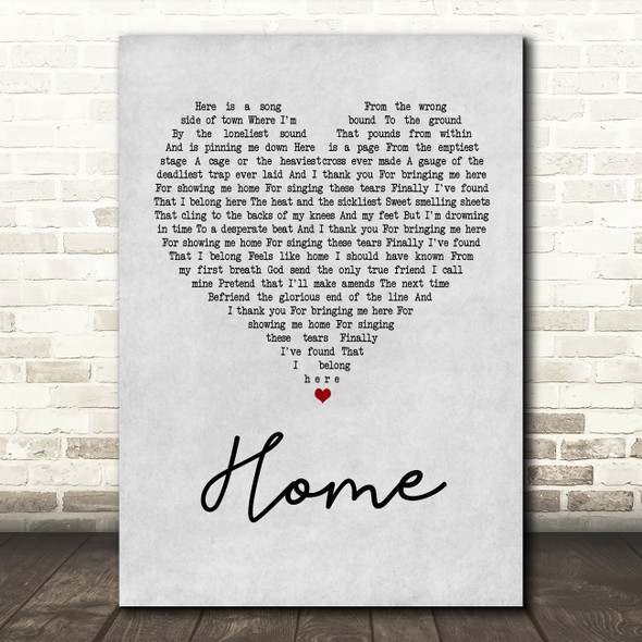 Depeche Mode Home Grey Heart Song Lyric Quote Print