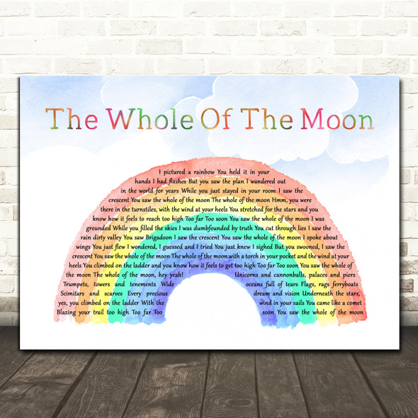 The Waterboys The Whole Of The Moon Watercolour Rainbow & Clouds Wall Art Gift Song Lyric Print