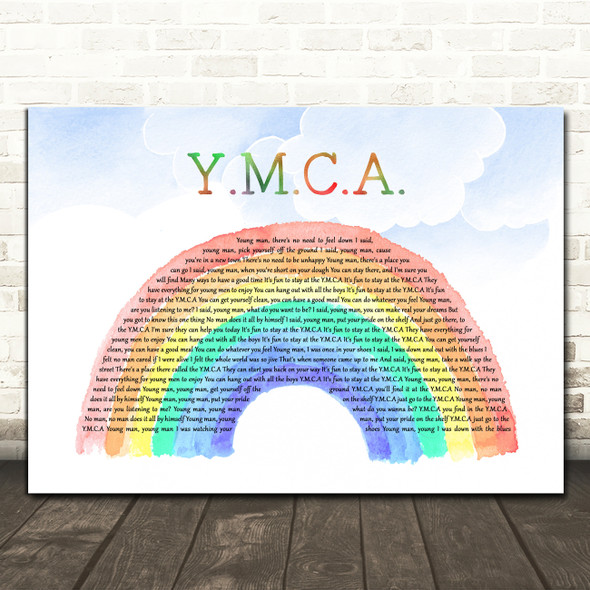 Village People Y.M.C.A. Watercolour Rainbow & Clouds Decorative Wall Art Gift Song Lyric Print