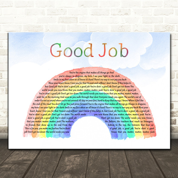 Alicia Keys Good Job Watercolour Rainbow & Clouds Decorative Wall Art Gift Song Lyric Print