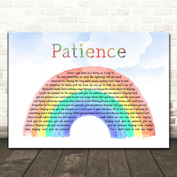Tom Grennan Patience Watercolour Rainbow & Clouds Decorative Wall Art Gift Song Lyric Print