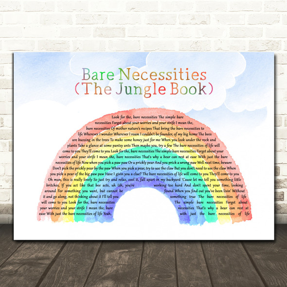 Dimie Cat Bare Necessities (The Jungle Book) Watercolour Rainbow & Clouds Song Lyric Print