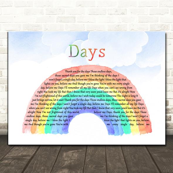 Kirsty MacColl Days Watercolour Rainbow & Clouds Decorative Wall Art Gift Song Lyric Print