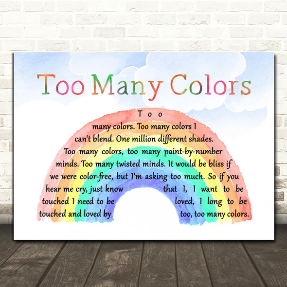 Teena Marie Too Many Colors Watercolour Rainbow & Clouds Decorative Gift Song Lyric Print