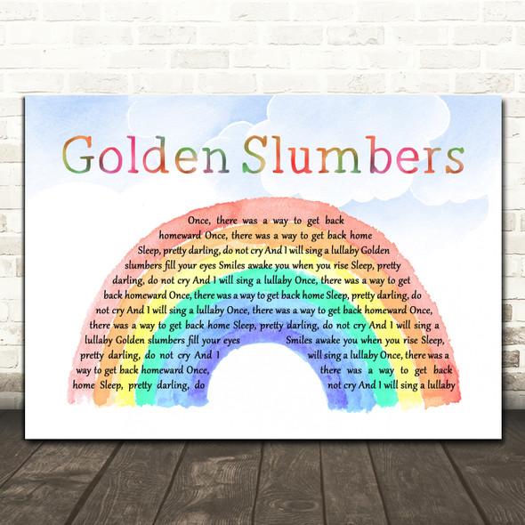 The Beatles Golden Slumbers Watercolour Rainbow & Clouds Decorative Gift Song Lyric Print