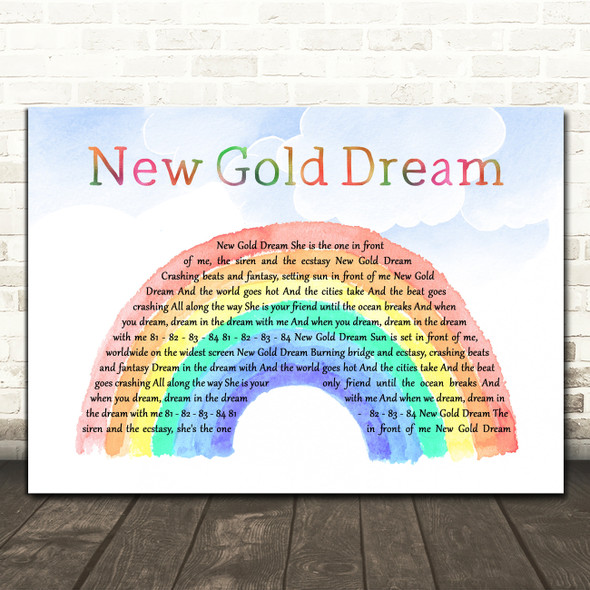 Simple Minds New Gold Dream Watercolour Rainbow & Clouds Decorative Gift Song Lyric Print