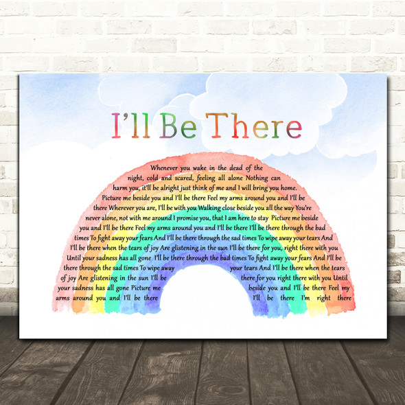 Jane McDonald I'll Be There Watercolour Rainbow & Clouds Decorative Gift Song Lyric Print