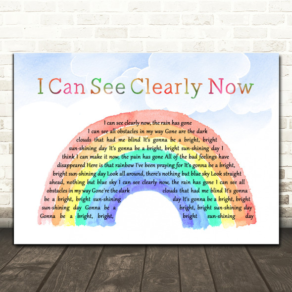 Johnny Nash I Can See Clearly Now Watercolour Rainbow & Clouds Wall Art Song Lyric Print