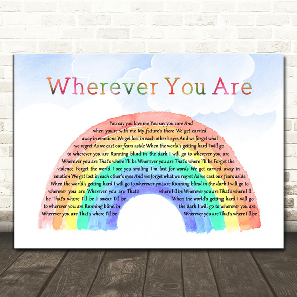 Kodaline Wherever You Are Watercolour Rainbow & Clouds Decorative Gift Song Lyric Print