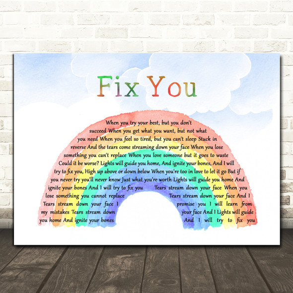 Coldplay Fix You Watercolour Rainbow & Clouds Decorative Wall Art Gift Song Lyric Print