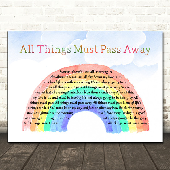 George Harrison All Things Must Pass Watercolour Rainbow & Clouds Gift Song Lyric Print