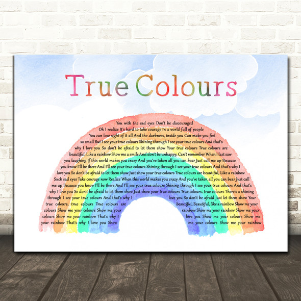 Phil Collins True Colours Watercolour Rainbow & Clouds Decorative Gift Song Lyric Print
