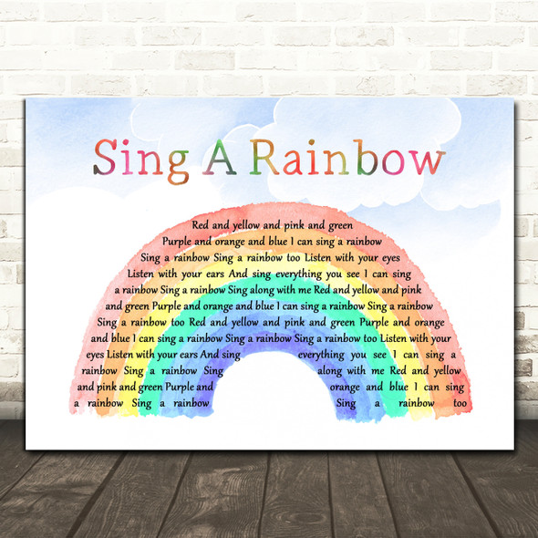 Peggy Lee Sing a Rainbow Watercolour Rainbow & Clouds Decorative Gift Song Lyric Print