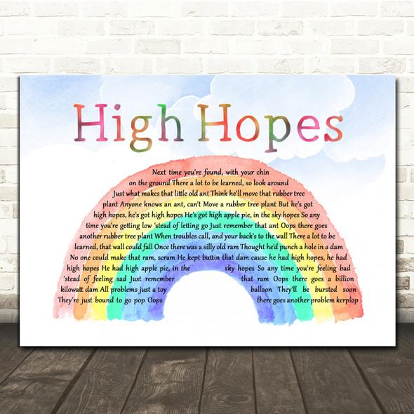 Frank Sinatra High Hopes Watercolour Rainbow & Clouds Decorative Gift Song Lyric Print