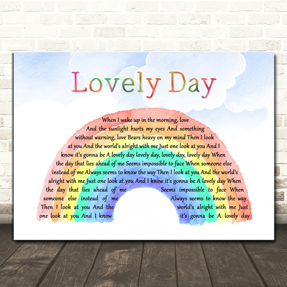 Bill Withers Lovely Day Watercolour Rainbow & Clouds Decorative Gift Song Lyric Print
