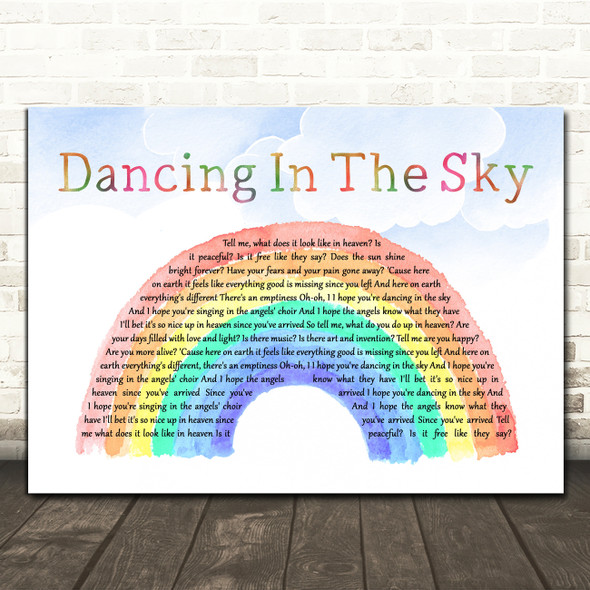 Dani And Lizzy Dancing In The Sky Watercolour Rainbow & Clouds Song Lyric Print