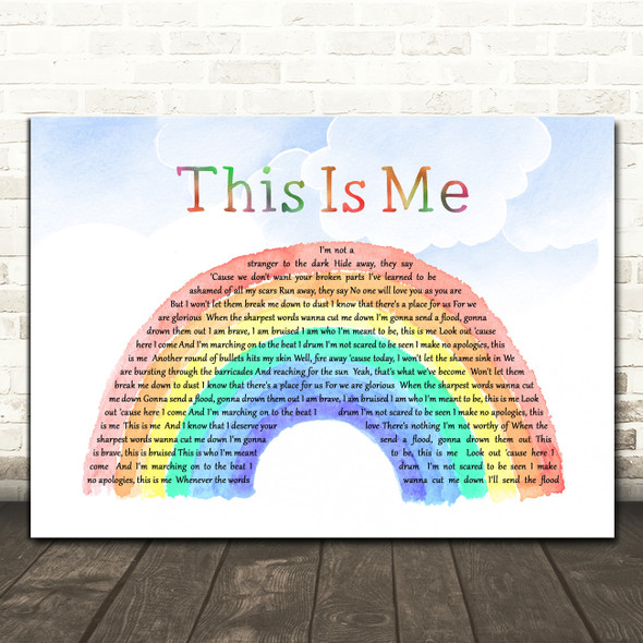 The Greatest Showman This Is Me Watercolour Rainbow & Clouds Song Lyric Print