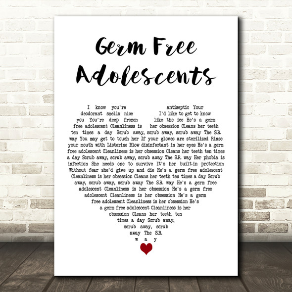 X-Ray Spex Germ Free Adolescents White Heart Decorative Wall Art Gift Song Lyric Print