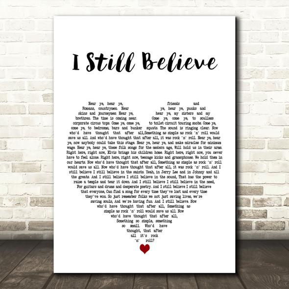 Frank Turner I Still Believe White Heart Decorative Wall Art Gift Song Lyric Print