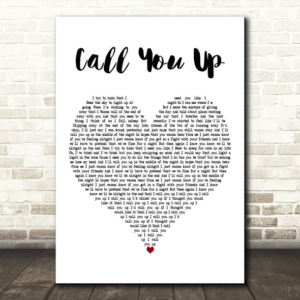 Viola Beach Call You Up White Heart Decorative Wall Art Gift Song Lyric Print