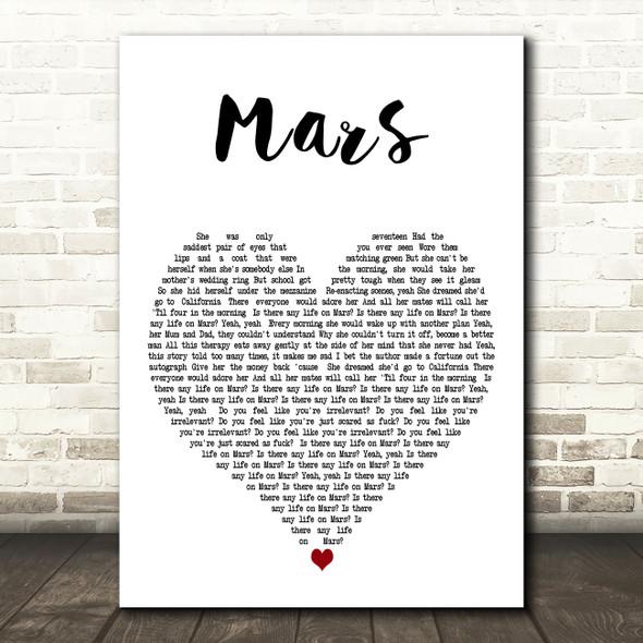 YUNGBLUD Mars White Heart Decorative Wall Art Gift Song Lyric Print