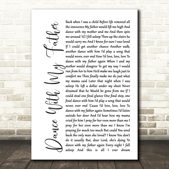 Luther Vandross Dance With My Father White Script Song Lyric Quote Print