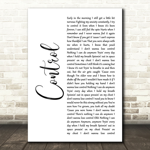 Zoe Wees Control White Script Decorative Wall Art Gift Song Lyric Print