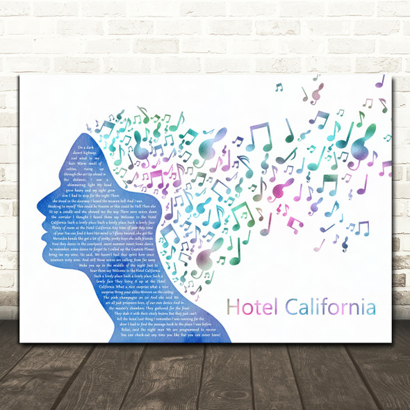 Eagles Hotel California Colourful Music Note Hair Decorative Gift Song Lyric Print