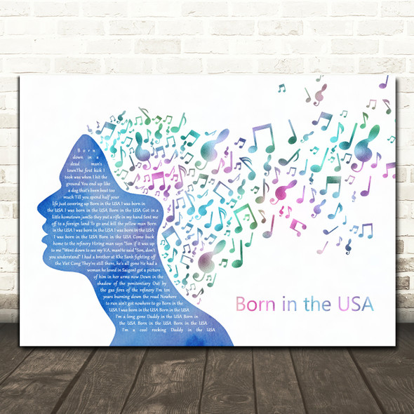 Bruce Springsteen Born In The USA Colourful Music Note Hair Song Lyric Print