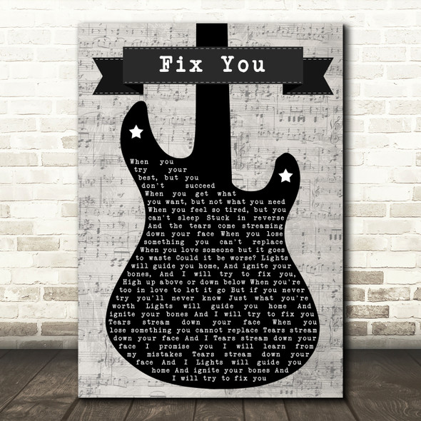 Coldplay Fix You Electric Guitar Music Script Decorative Wall Art Gift Song Lyric Print