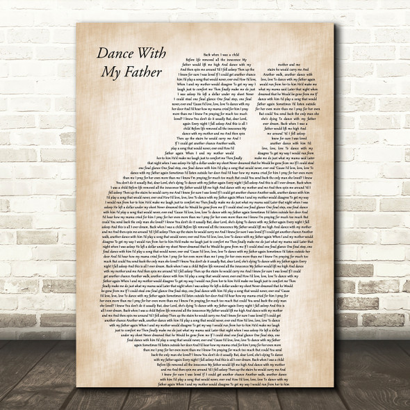 Luther Vandross Dance With My Father Father & Baby Decorative Wall Art Gift Song Lyric Print