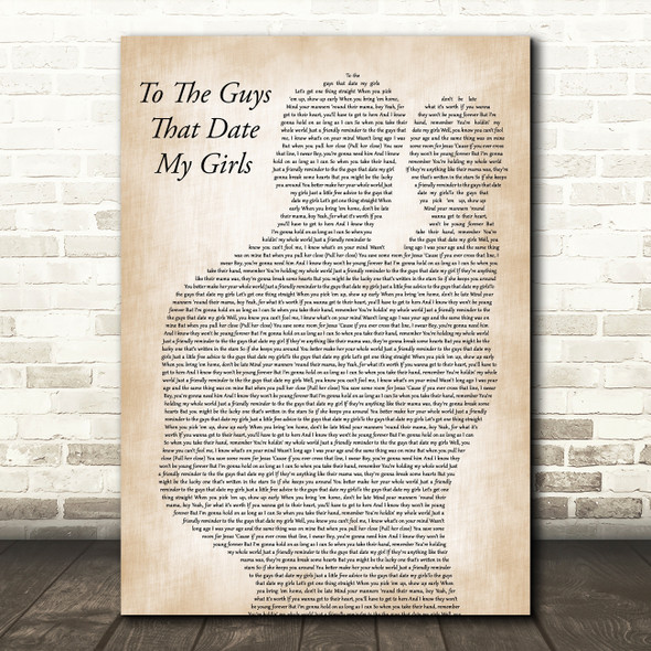 Thomas Rhett To The Guys That Date My Girls Father & Baby Decorative Gift Song Lyric Print