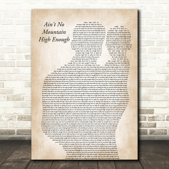 Marvin Gaye Ain't No Mountain High Enough Father & Baby Decorative Gift Song Lyric Print